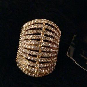 Goldtone Ring with Rhinestones